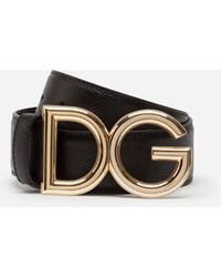 Dolce & Gabbana Reversible Belt In Dauphine Calfskin With Dg Logo - Schwarz