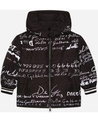 Dolce & Gabbana - Doudoune Courte À Capuche Et Imprimé Inscriptions - Lyst