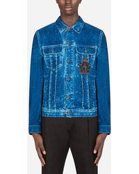 Dolce & Gabbana Washed Blue Stretch Denim Jacket With Patch Embellishment