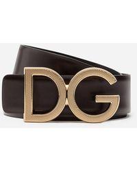 Dolce & Gabbana Ceinture en cuir à boucle monogramme - Marron