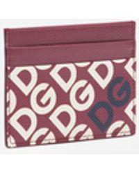 Dolce & Gabbana Porte-Cartes De Crédit En Cuir De Veau Dauphine Dg Logo - Multicolore