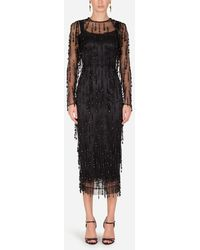 Dolce & Gabbana - Sheath Dress With Beaded Fringe Appliqués - Lyst