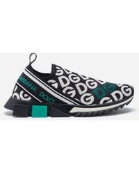 Dolce & Gabbana - Knit Fabric Sorrento Sneakers With Dg Mania Print - Lyst