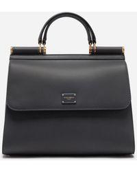 Dolce & Gabbana Grosse Sicily 58 Tasche Aus Kalbsleder - Grau