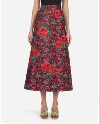 Dolce & Gabbana Long Floral Jacquard Lamé Skirt - Red