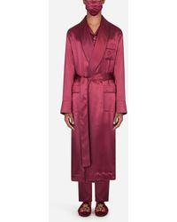Dolce & Gabbana Silk Robe With Matching Face Mask - Rojo