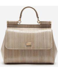 Dolce & Gabbana - Mittelgrosse Sicily Tasche Aus Aalleder - Lyst