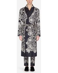 Dolce & Gabbana Printed Silk Robe - Black