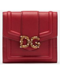 Dolce & Gabbana French Flap Dg Amore Wallet In Calfskin - Red