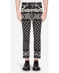 Dolce & Gabbana Skinny Jeans Mit Bandana-Print - Schwarz