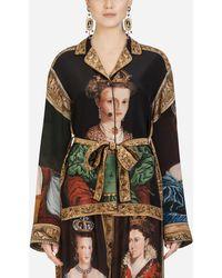 Dolce & Gabbana - Pajama Shirt In Queen-print Crepe De Chine - Lyst