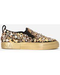 Dolce & Gabbana - Canvas Portofino Slip-on Sneakers With Stone Embellishment - Lyst