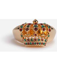 Dolce & Gabbana Bague En Métal Avec Couronne Et Strass - Métallisé