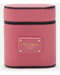 Dolce & Gabbana Airpod Case In Dauphine Calfskin - Pink