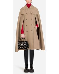 Dolce & Gabbana Woollen Cape With Decorative Buttons - Natural