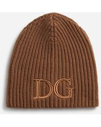 Dolce & Gabbana Wool Hat With Dg Embroidery - Marron