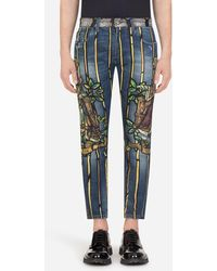 Dolce & Gabbana Stretch Skinny Jeans Mit Napoleon-Print - Blau