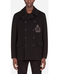 Dolce & Gabbana Jersey Wool Pea Coat With Patch Embellishment - Schwarz