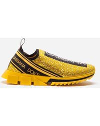 Dolce & Gabbana Sorrento Trainers With Rhinestones - Yellow