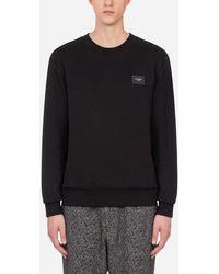 Dolce & Gabbana - Cotton Sweatshirt With Branded Plate - Lyst