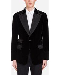 Dolce & Gabbana Casino Tuxedo Jacket In Velvet - Schwarz