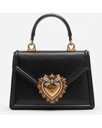 Dolce & Gabbana Borsa Devotion Piccola In Vitello Liscio - Nero