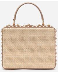 Dolce & Gabbana Dolce Box Bag In Braided Raffia With Thread Embroidery - Neutro