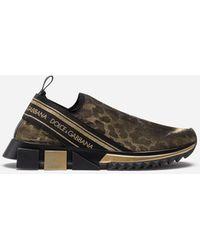 Dolce & Gabbana Sorrento Sneakers In Glitter Leopard Print - Metálico