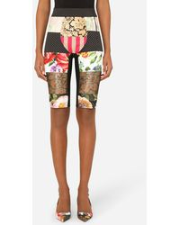 Dolce & Gabbana Patchwork Jacquard Cycling Shorts - Multicolor