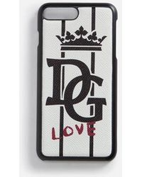 Dolce & Gabbana - Iphone 7/8 Plus Cover In Printed Dauphine Calfskin Detail - Lyst