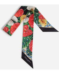 Dolce & Gabbana Bandeau In Twill With Laceleaf Print - Multicolor