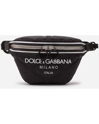 Dolce & Gabbana Nylon Palermo Tecnico Belt Bag With Logo Print - Black