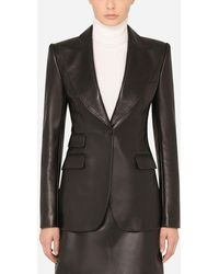 Dolce & Gabbana - Single-Breasted Leather Blazer - Lyst