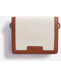 Dolce & Gabbana Small Wallet With Cross-Body Strap In Canvas And Cowhide - Mehrfarbig