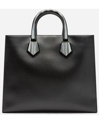 Dolce & Gabbana Design Logo Shopping Back In Calfskin With Lasered Logo - Schwarz