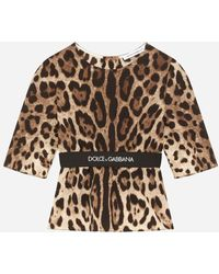 Dolce & Gabbana Charmeuse Blouse With Leopard Print - Brown