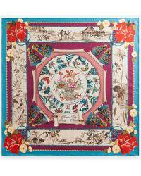 Dolce & Gabbana Twill Silk Foulard With Silk Road Print: 90 X 90Cm- 35 X 35 Inches - Multicolor