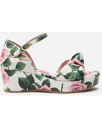 Dolce & Gabbana Ankle Strap Wedges In Poplin With Tropical Rose Print - Multicolore