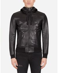 Dolce & Gabbana Leather Jacket With Hood And Branded Plate - Black