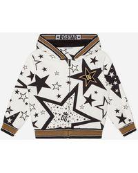Dolce & Gabbana Felpa Con Cappuccio In Jersey Stampa Millennials Star - Multicolore