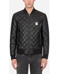 Dolce & Gabbana Quilted Leather Jacket With Branded Plate - Black