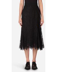 Dolce & Gabbana Long Chantilly Lace Skirt - Nero