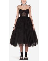 Dolce & Gabbana Long-Sleeved Tulle Dress - Negro