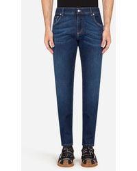 Dolce & Gabbana Washed Blue Skinny Stretch Jeans - Blau