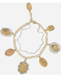 Dolce & Gabbana Armband Aus Weiss- Und Rosegold Mit Religiösen Medaillons - Mettallic
