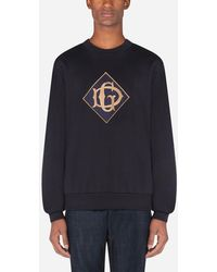 Dolce & Gabbana Cotton Sweatshirt With Dg Logo - Azul