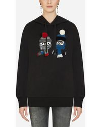 Dolce & Gabbana Hoodie With Patches Of The Designers - Black