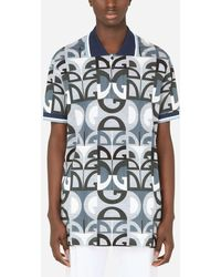 Dolce & Gabbana Cotton Piqué Polo Shirt With All-over Dg Print - Multicolour