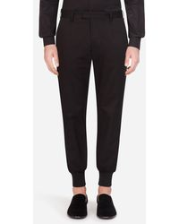 Dolce & Gabbana Stretch Cotton Pants With Side Strips - Nero