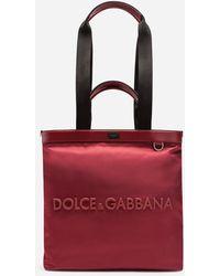 Dolce & Gabbana Dna Sicilia Nylon Shopping Bag With Rubberized Logo - Red
